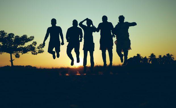 silhouette of people having fun